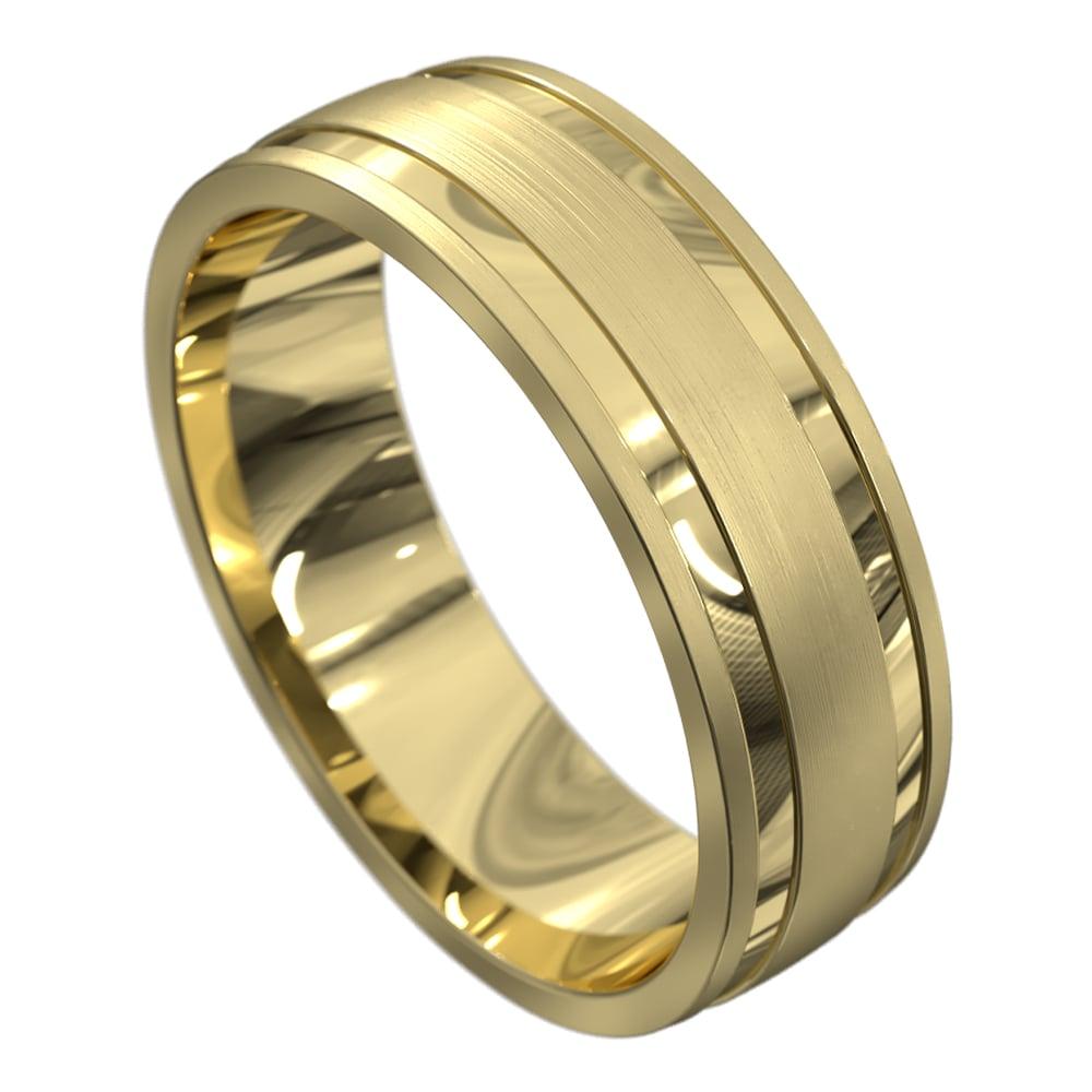 Stunning Polished Yellow Gold Mens Wedding Ring
