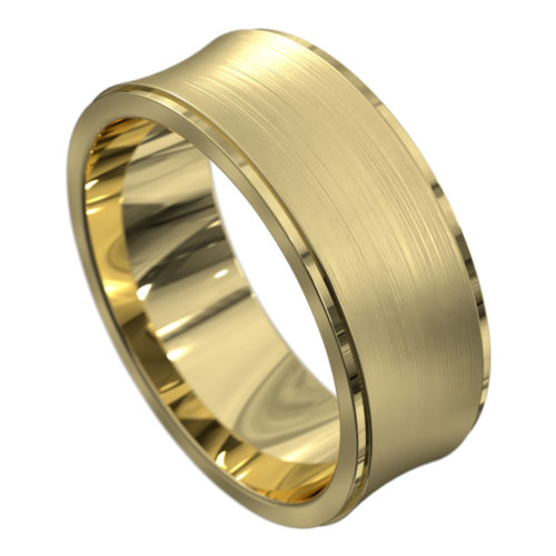 Polished and Brushed Yellow Gold Mens Wedding Ring