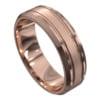 Stunning Polished Rose Gold Mens Wedding Ring