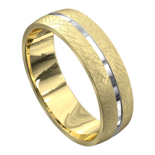 Brushed Yellow and White Gold Mens Wedding Ring