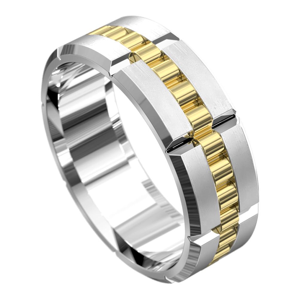 Stunning White and Yellow Gold Mens Wedding Ring