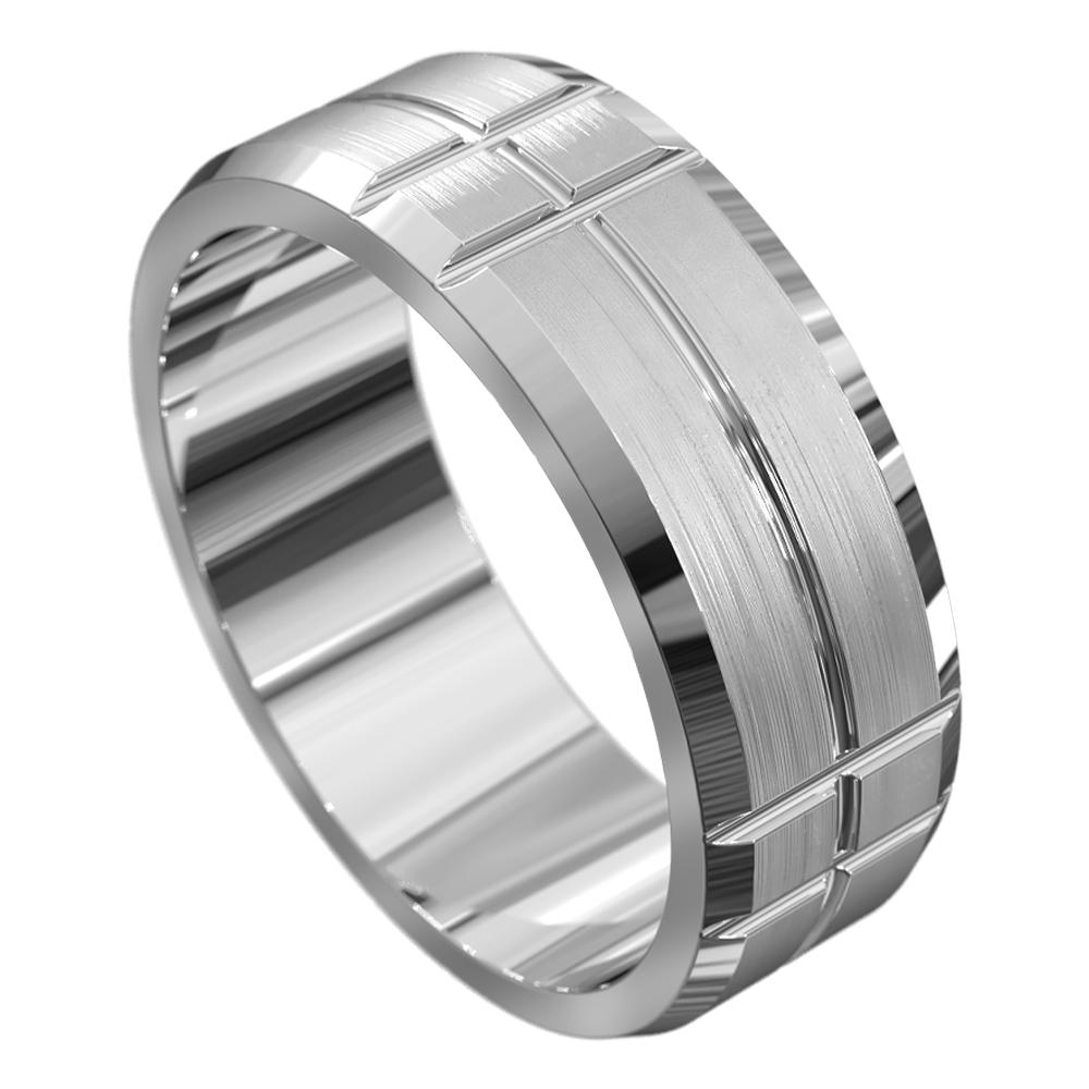 White Gold Brushed Mens Wedding Ring