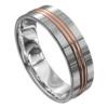 Brushed Finish White and Rose Gold Mens Wedding Ring