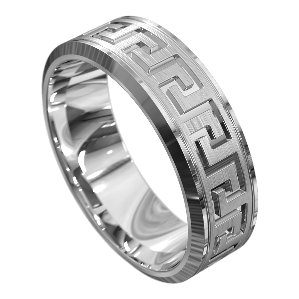 Centre Grooved White Gold Mens Wedding Ring