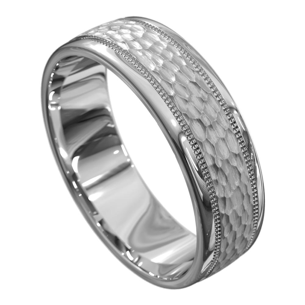Brilliant White Gold Mens Wedding Ring