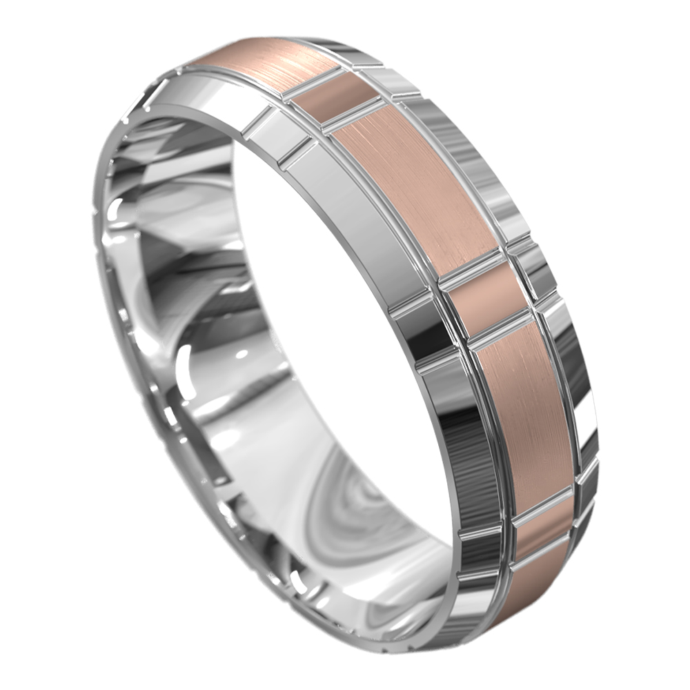 Two Tone White and Rose Gold Mens Wedding Ring