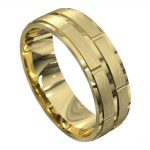 Yellow Gold Centre Groove Mens Wedding Ring