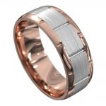 Rose and White Gold Centre Groove Mens Wedding Ring
