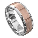 White and Rose Gold Centre Groove Mens Wedding Ring