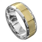 Centre Groove White and Yellow Gold Mens Wedding Ring