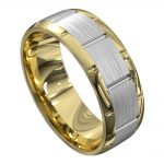 Yellow and White Gold Centre Groove Mens Wedding Ring