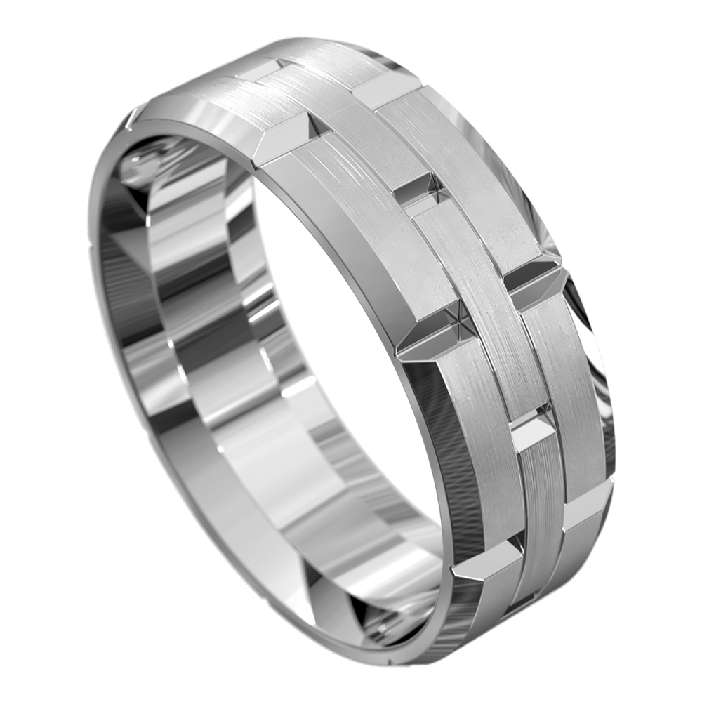 White Gold Brushed Finish Mens Wedding Ring
