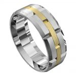 Brushed White and Yellow Gold Mens Wedding Ring