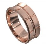 Rose Gold Off Centre Groove Mens Wedding Ring
