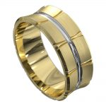 Yellow and White Gold Off Centre Groove Mens Wedding Ring
