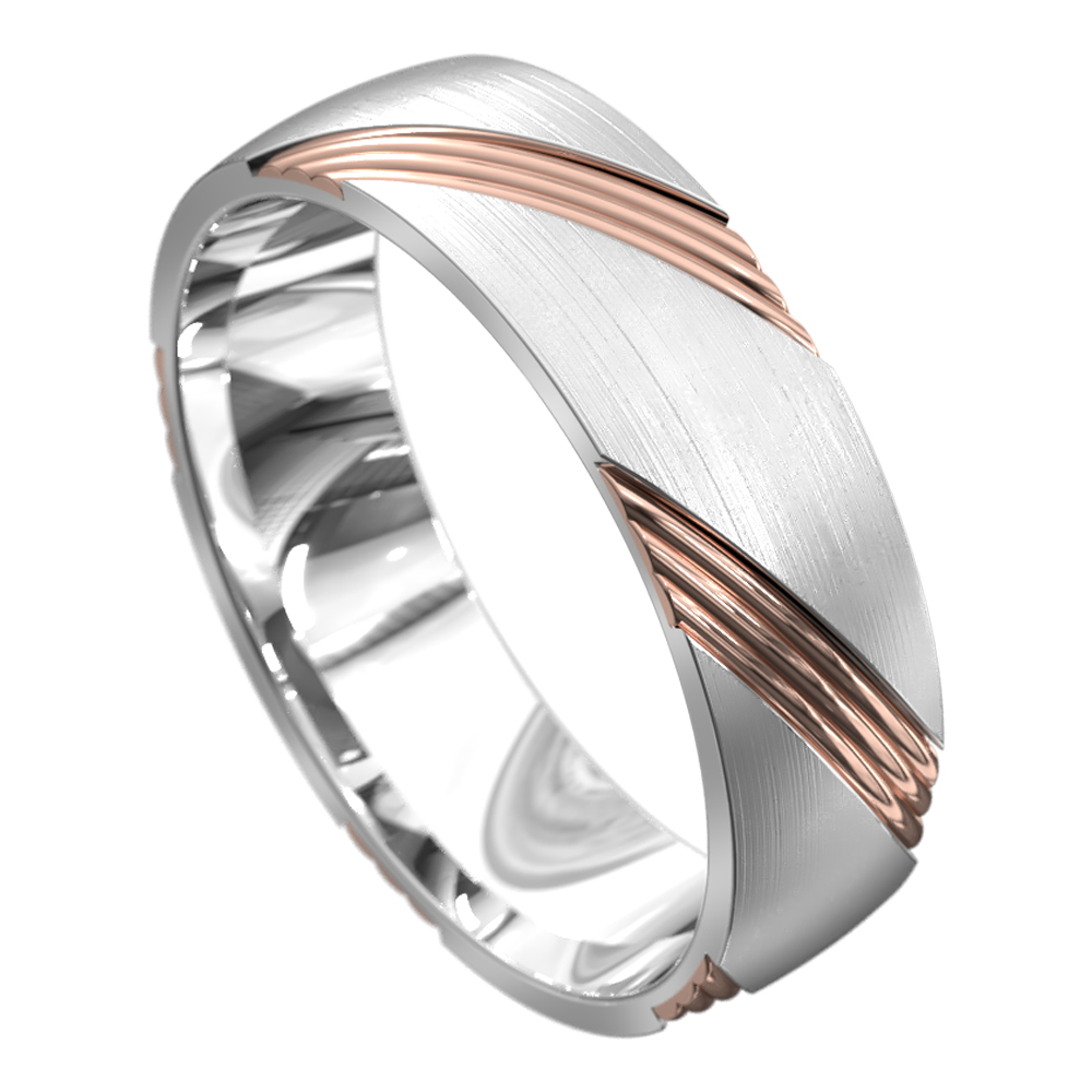 White and Rose Gold Grooved Mens Wedding Ring