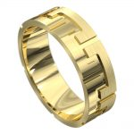 Impressive Grooved Yellow Gold Mens Wedding Ring