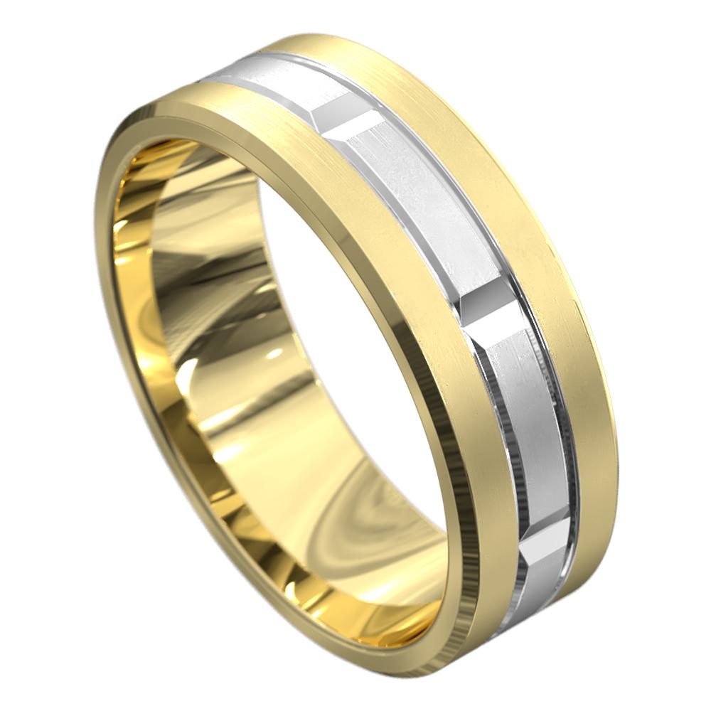 Yellow and White Gold Brushed Finish Mens Wedding Ring