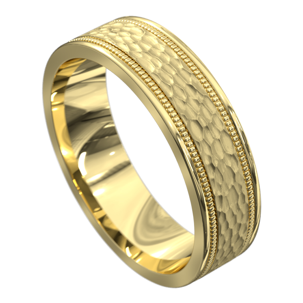 Stunning Yellow Gold Mens Wedding Ring
