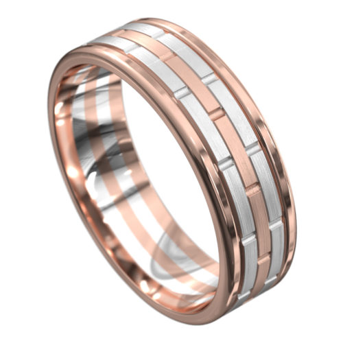 Rose and White Gold Mens Wedding Ring