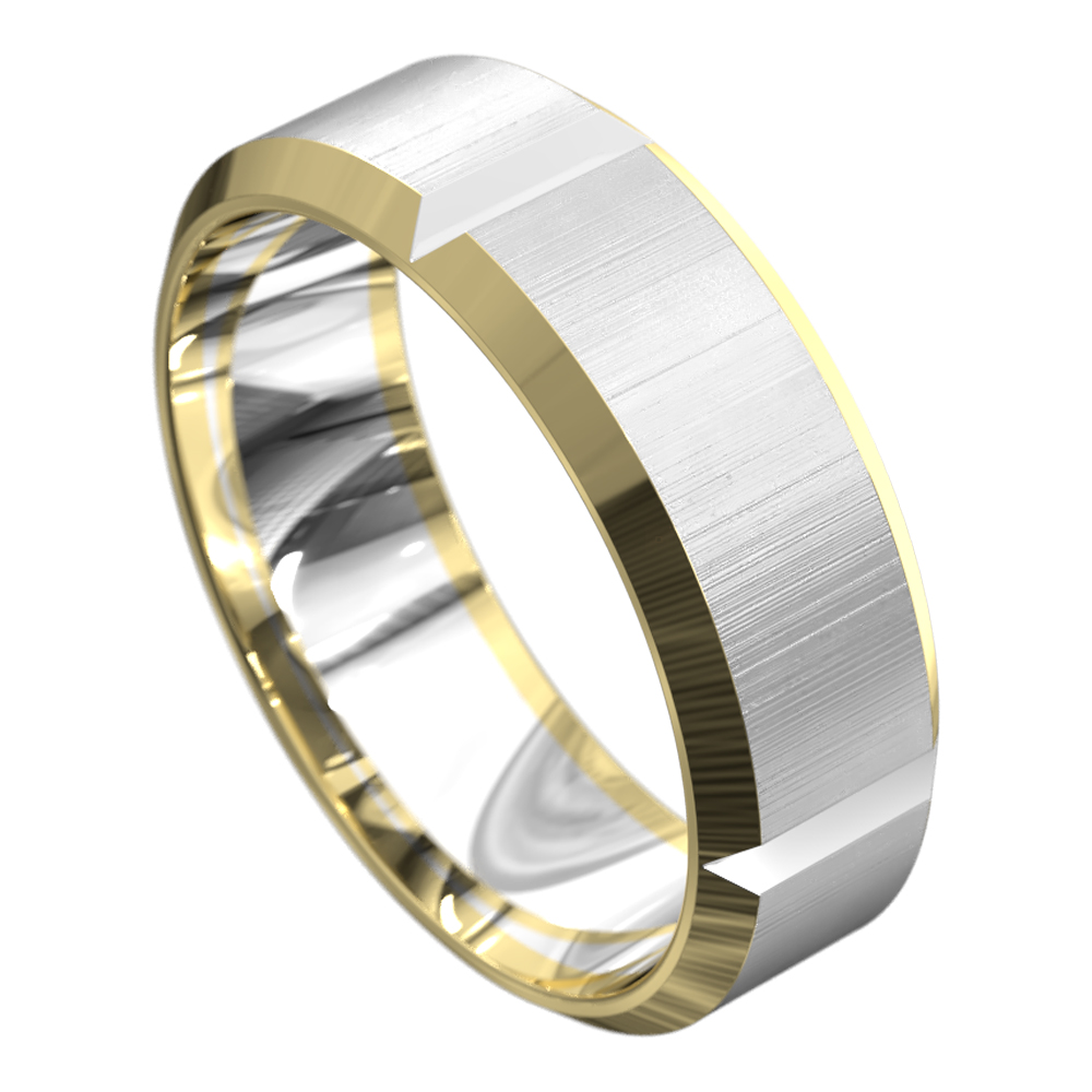 Yellow and White Gold Brushed Finish Mens Wedding Ring