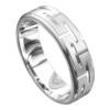 Brilliant White Gold Grooved Mens Wedding Ring