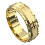 Impressive Yellow Gold Centre Grooved Mens Wedding Ring