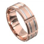 Rose and White Gold Grooved Mens Wedding Ring