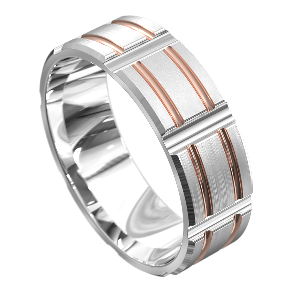 Grooved White and Rose Gold Mens Wedding Ring