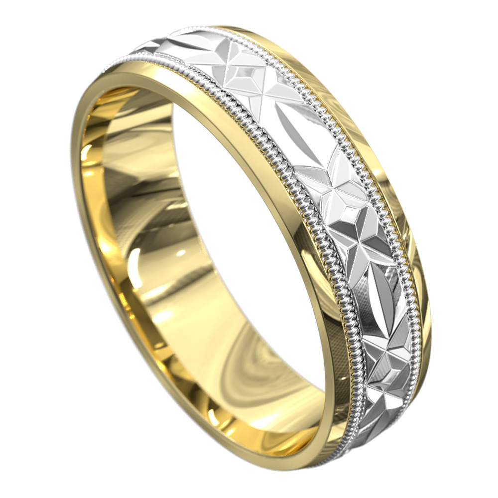 Yellow and White Gold Satin Mens Wedding Ring