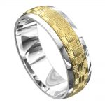 White and Yellow Gold Polished Mens Wedding Ring