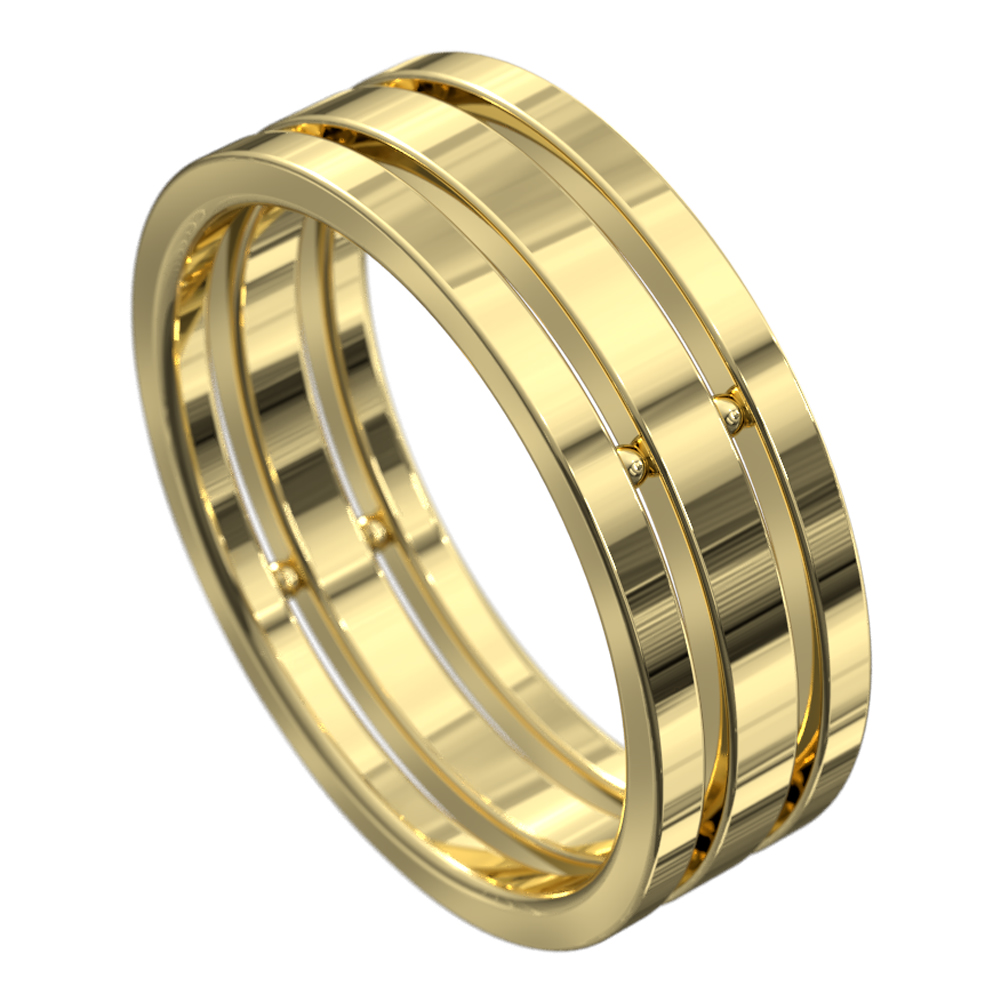 Stunning Yellow Gold Polished Mens Wedding Ring