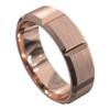 Brushed Rose Gold Grooved Mens Wedding Ring
