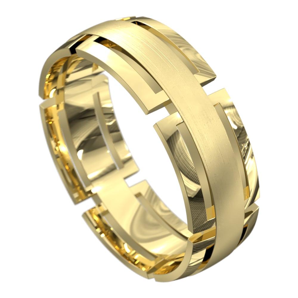 Stunning Yellow Gold Brushed Mens Wedding Ring