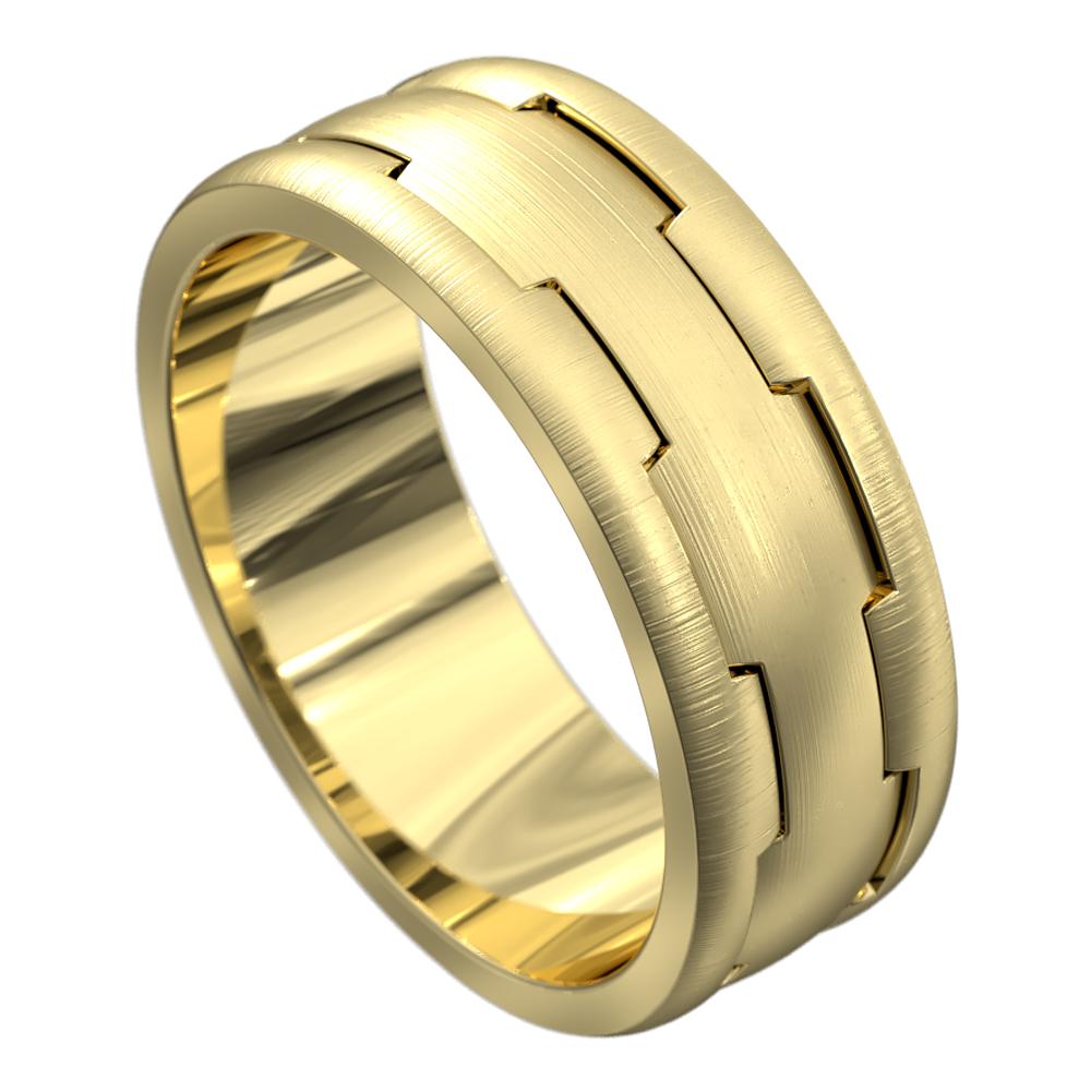 Yellow Gold Brushed Finish Mens Wedding Ring