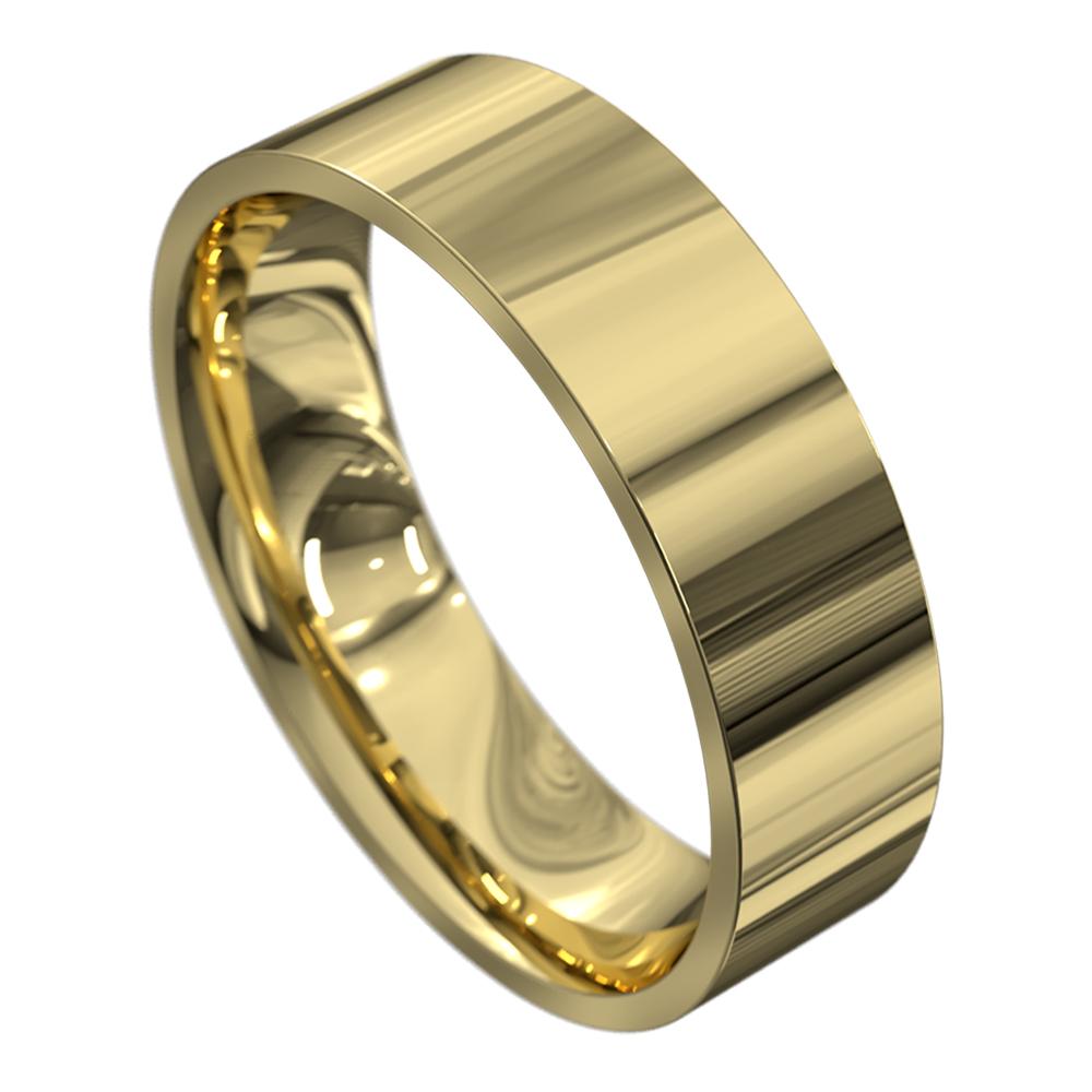 Polished Yellow Gold Mens Wedding Ring