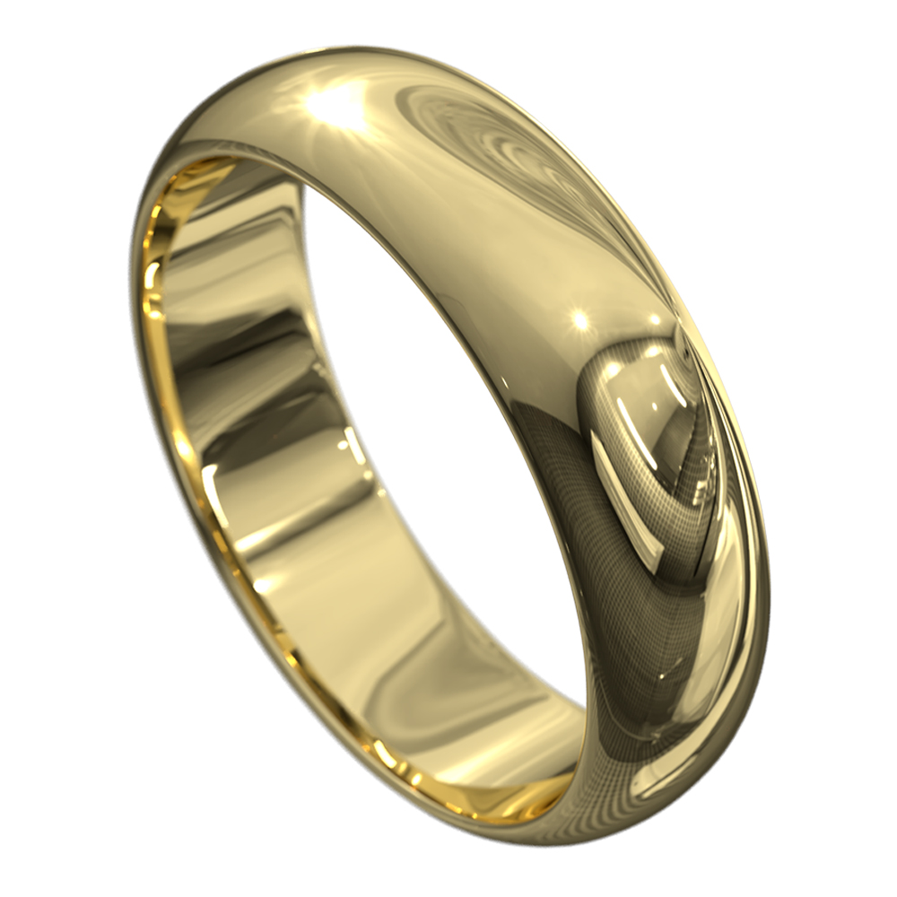 Stunning High Polished Yellow Gold Mens Wedding Ring