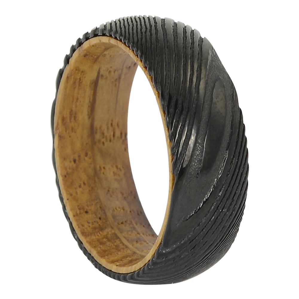 Black damascus steel and wood ring