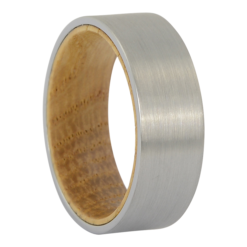 FTR-130 – Brushed tungsten and whisky wood mens ring