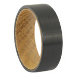 Black tungsten with whiskey barrel wood mens ring