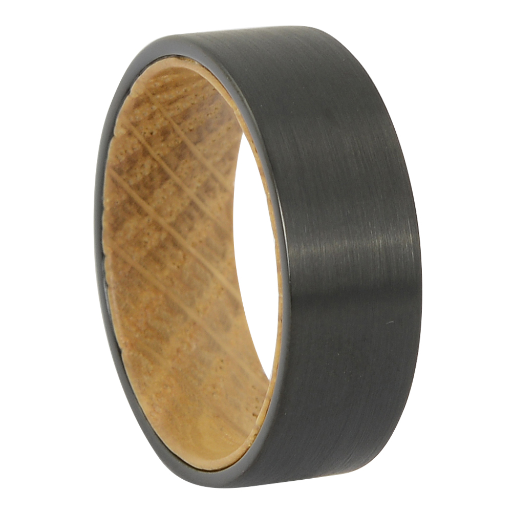 FTR-131 – Black tungsten with whiskey barrel wood mens ring