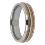 Tungsten and whiskey barrel mens ring