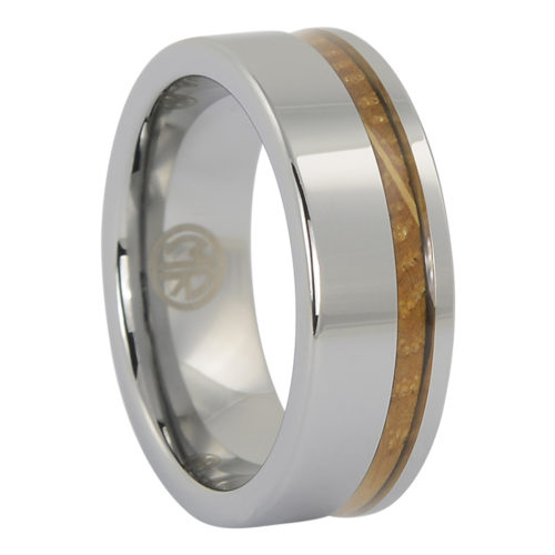 Tungsten and whiskey barrel wood mens ring