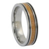 Tungsten mens ring with whisky barrel wood