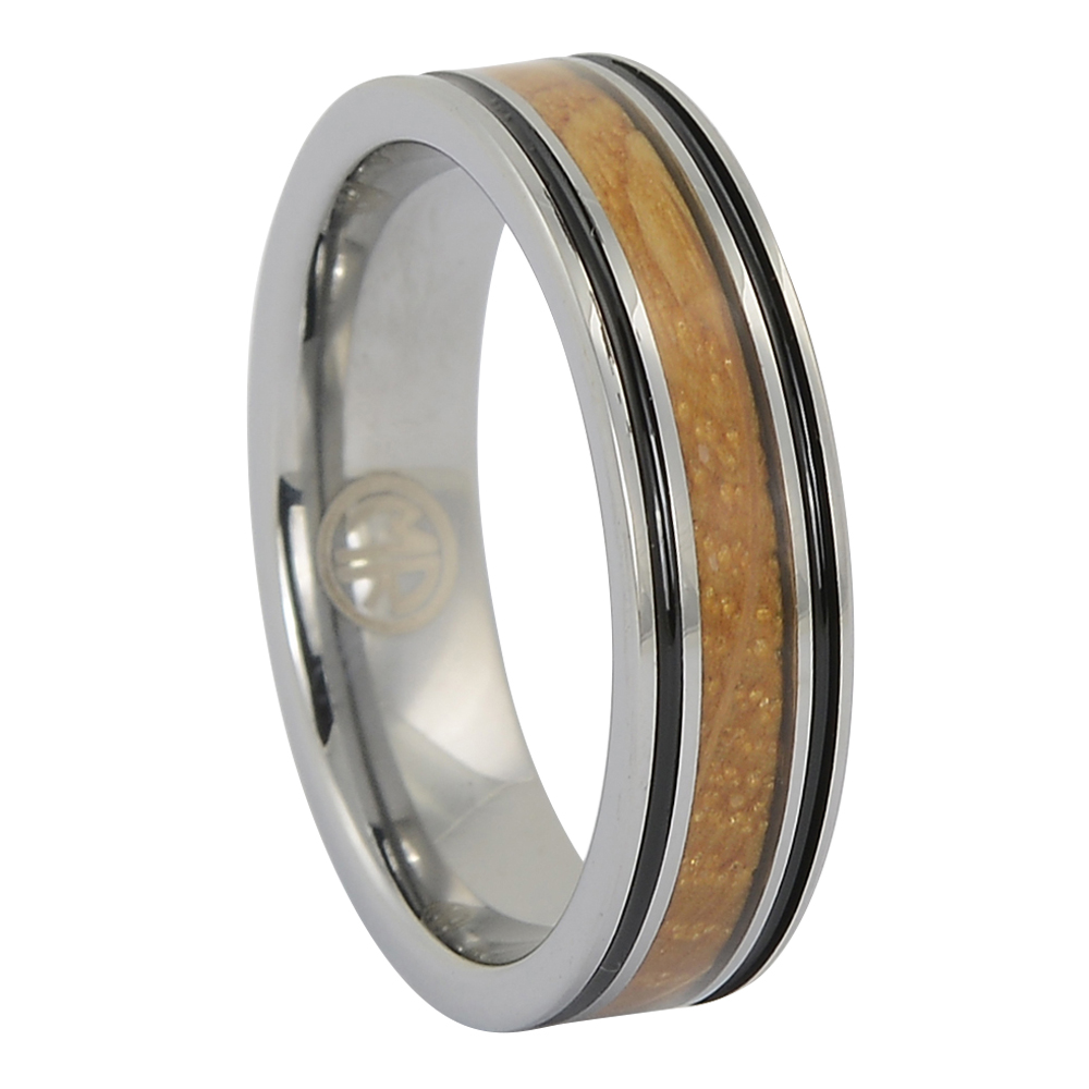 FTR-134 – Tungsten mens ring with whisky barrel wood