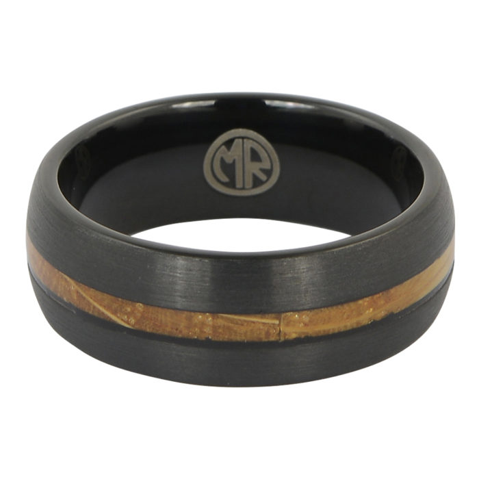 Tungsten black and whiskey wood mens ring