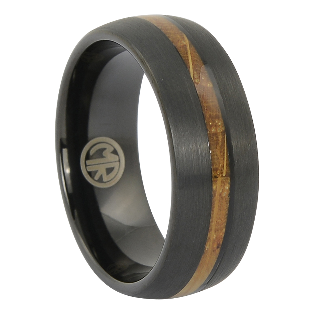 FTR-135 – Tungsten black and whiskey wood mens ring