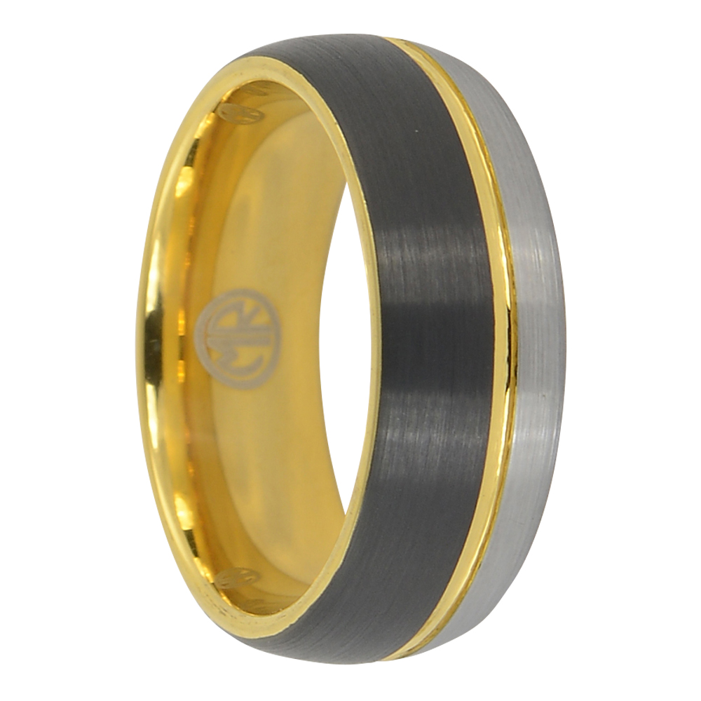 Black and gold tungsten wedding ring