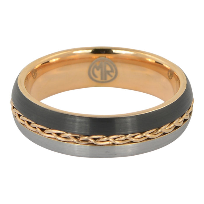 Tungsten and Rose gold rope mens ring