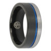 Tungsten Black and Blue Mens Ring